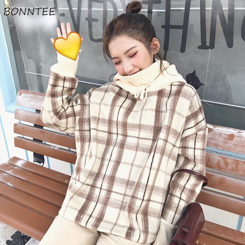 Hoodies Women Hooded Winter Warm Plaid Print Thicker Plus Velvet Turtleneck Loose Womens Hoodie Korean Style Trendy Harajuku New