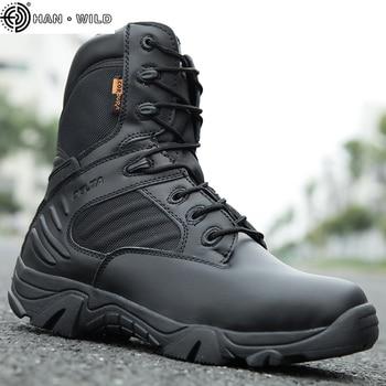 أحذية رجالي التكتيكية العسكرية القوة الخاصة الجلود للماء الصحراء القتالية الكاحل التمهيد أحذية العمل الجيش زائد الحجم 39-47 1