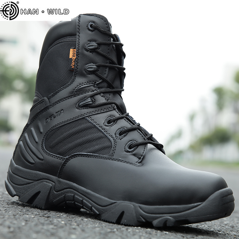 Military Tactical Mens Boots Special Force Leather Waterproof Desert Combat Ankle Boot Army Work Shoes Plus Size 39-47 image