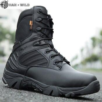 Taktyczna wojskowa męskie buty specjalna siła skórzana wodoodporna pustynna bojowa botki obuwie robocze armii Plus rozmiar 39-47