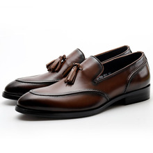 Genuine Cow Leather Men Tassel Loafers Shoes Casual Black Brown Slip On Party Wedding Dress Shoes Breathable Handmade new men genuine leather party dress shoes breathable fashion wedding casual male flats cow leather split loafers soft black
