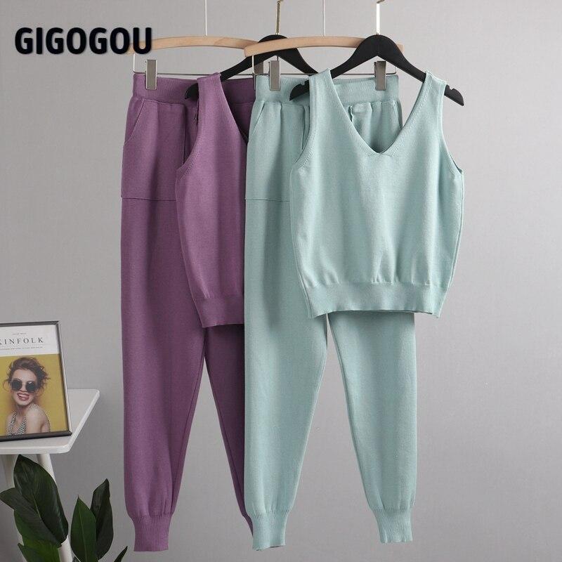 Gigogou女性シックな2個セット衣装ニット固体ラウンジスーツカーディガン + ジョガーパンツ + ノースリーブタンクトップ