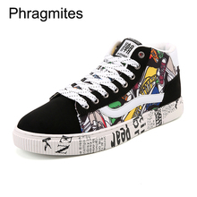 Phragmites High Top Brand Sneakers Summer Breathable Winter Warm Boots Lace-up Men Botines Mujer 2019 Printed Black Shoes