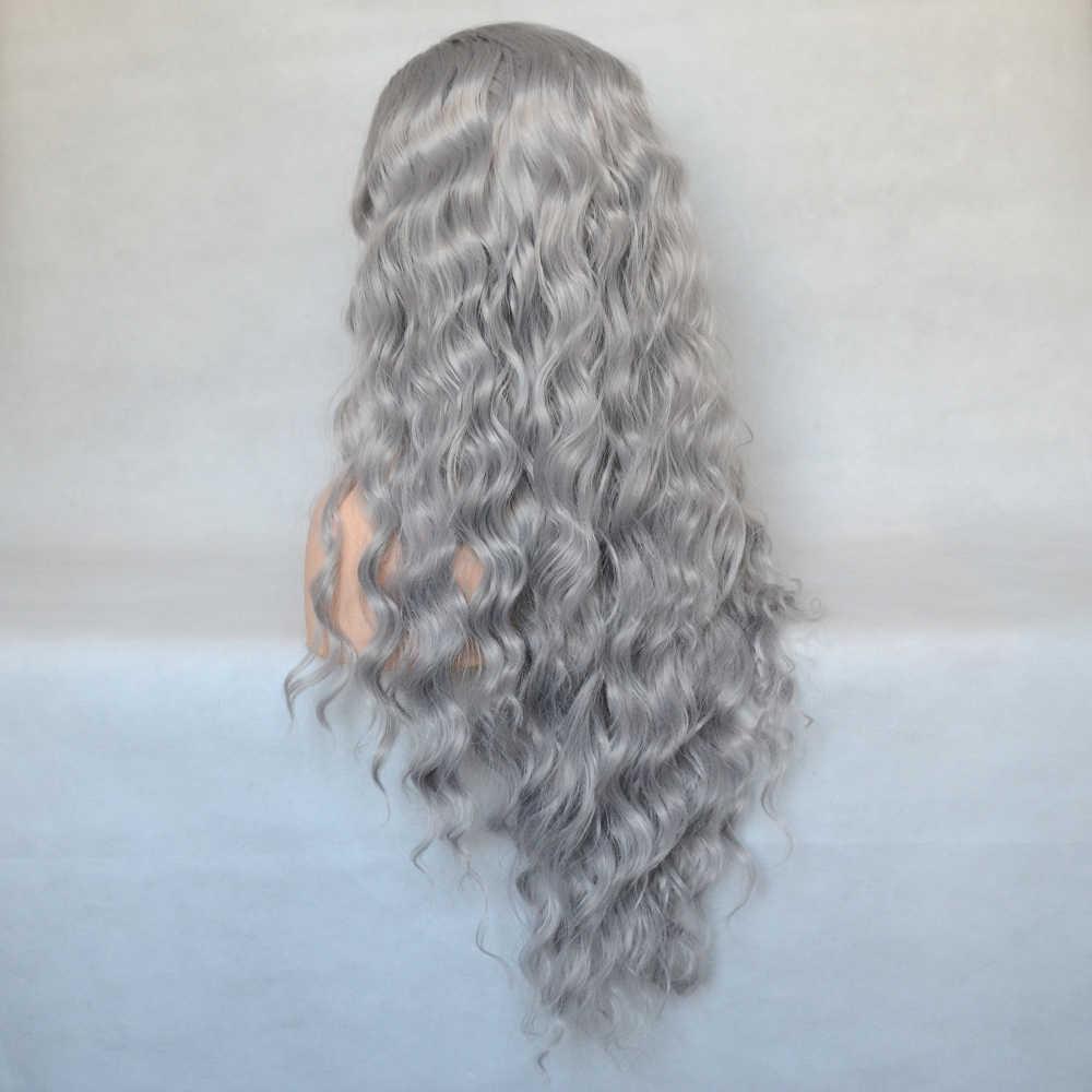 Vogue Koningin Grey Losse Krullend Synthetische Lace Front Pruik Dagelijkse Dragen Voor Vrouwen