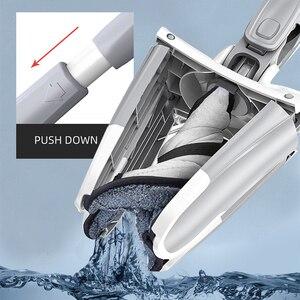 Image 2 - Mop a mano libera lavaggio a pavimento piatto facile da strizzare cuscinetto di ricambio in microfibra per cucina domestica Kit di Mop bagnato e asciutto laminato in legno duro