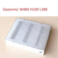Size(mm): W480 H100 L388 Silver Full Aluminum Chassis Amplifier Case Preamp Enclosure DAC Box NO4810