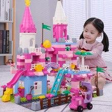 QWZ yeni Duploed ev DIY yapı taşları pembe prenses kale bloklar oyuncak renkli tuğla oyuncaklar çocuklar için noel kızlar hediye