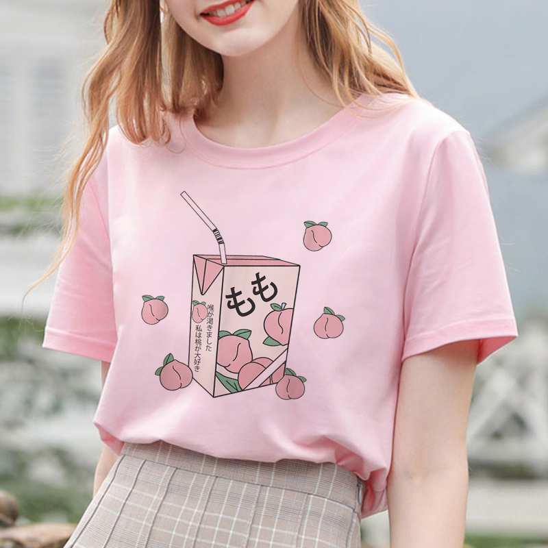 Summer New Pink Fashion Korean Style Women's Japanese Peach Juice Drink Print Harajuku Vogue Casual Loose Kawaii Female T Shirt