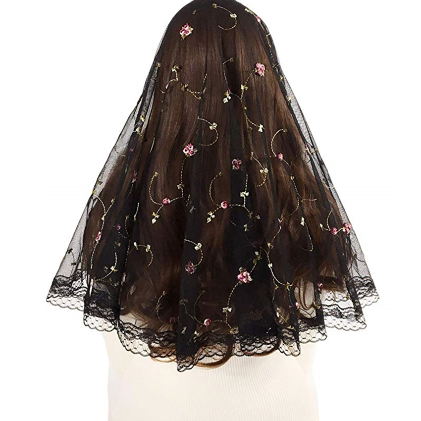 Short Floral Tulle Lace Mantilla Veil For Church Catholic Head Scarf Covering Latin Mass Vintage Veil Velos Negra Mantilla Voile