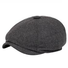 Men beret vintage Herringbone Gatsby Tweed peaky blinders hat Newsboy B