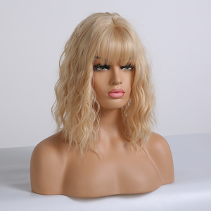 Image 2 - EASIHAIR Light Blonde Wave WigsกับBangsวิกผมสังเคราะห์ผู้หญิงความร้อนทนCosplay Wavy Wigsเส้นใยผมวิกผม