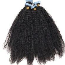 4b 4c kinky encaracolado fita na trama da pele das extensões do cabelo humano adesivo invisível mongol afro encaracolado cabelo preto cor 40 pces/100g