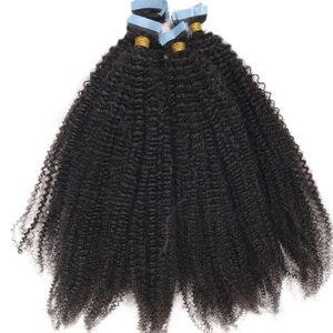 4B 4C кудрявые волосы для наращивания на ленте, накладные волосы из кожи, невидимые монгольские афро кудрявые волосы черного цвета, 40 шт./100 г