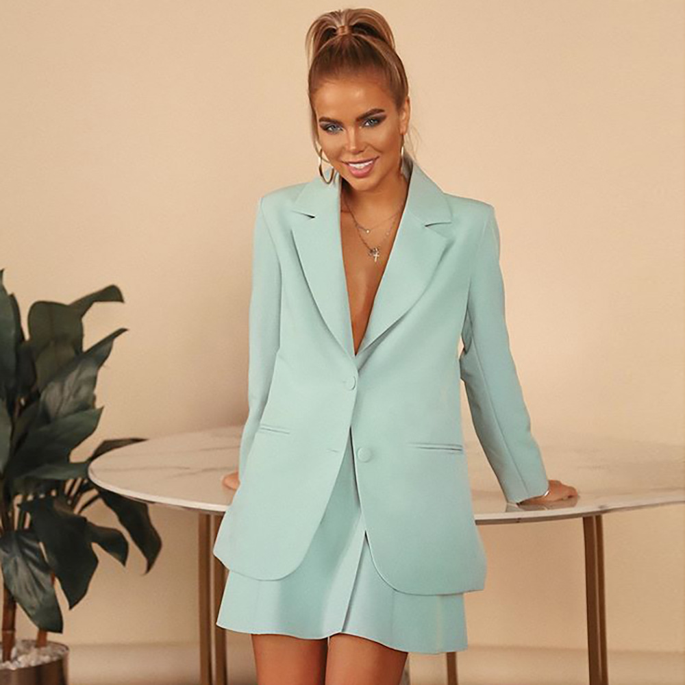 2020 Autumn Coat Women's Thin Solid Color and V-neck Long-Sleeved Button All-match Suit Casual crop blazer  tweed jacket