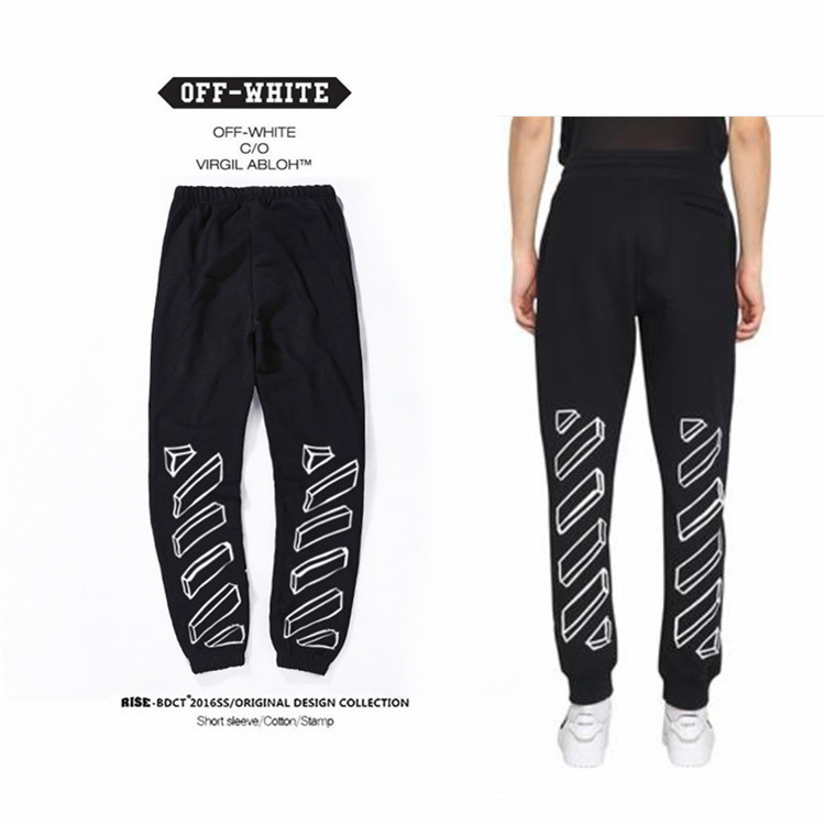 Europe And America Ow Popular Sketch Lines Sweatpants Trousers Plus Velvet Casual Versatile Men And Women Athletic Pants