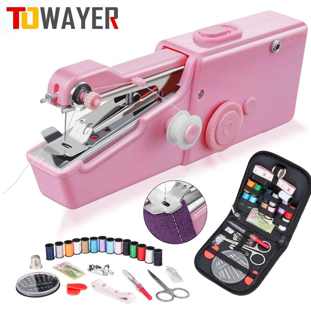 Портативная мини ручная швейная машина, электрическая швейная машинка, Домашний Беспроводной набор для рукоделия, для быстрого ремонта, швейная машинка DIY для одежды