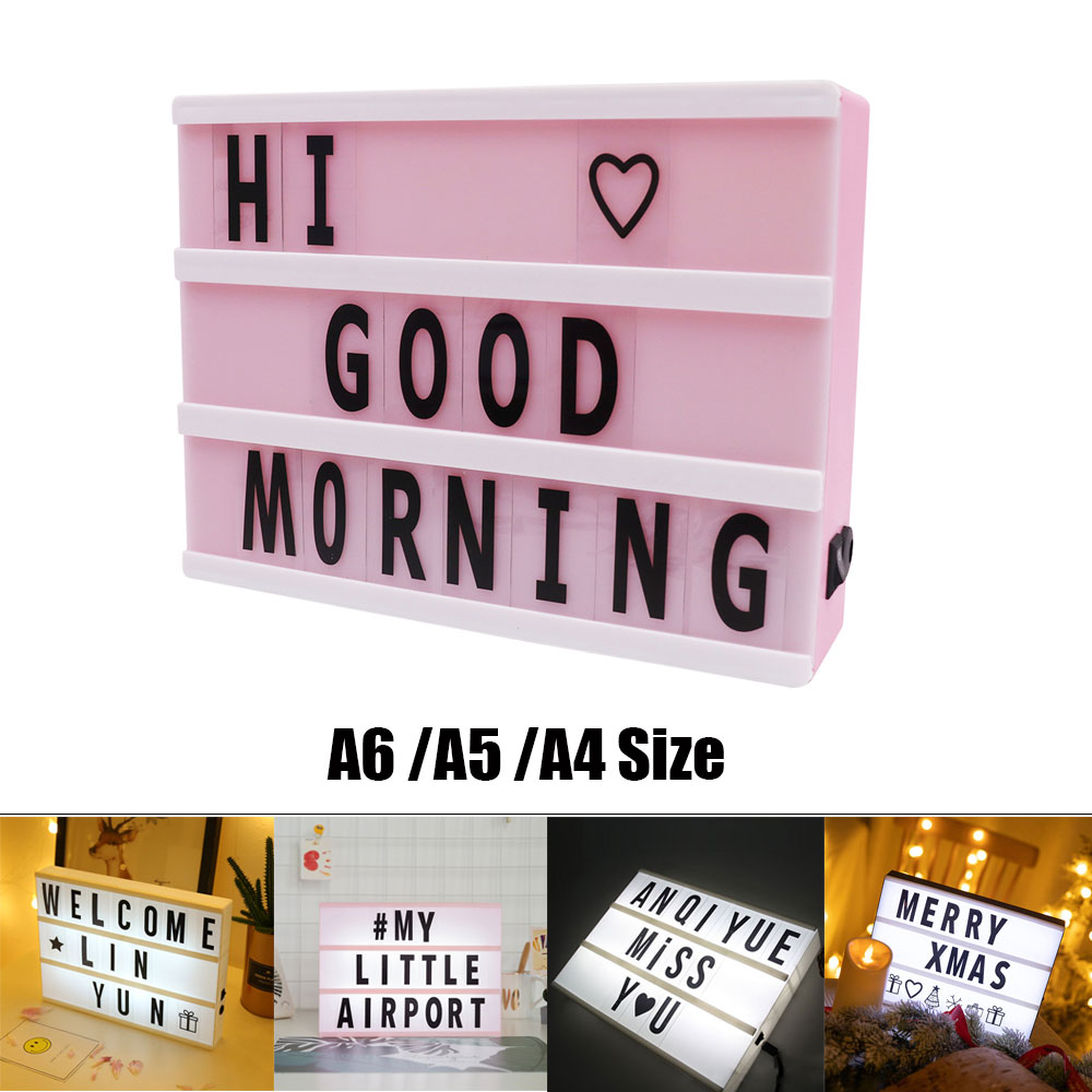 Permalink to A4 A5 A6 Size LED Combination Night Light Box Lamp DIY Black/Colorful Letters Cards USB AA Battery Cinema Lightbox White Pink