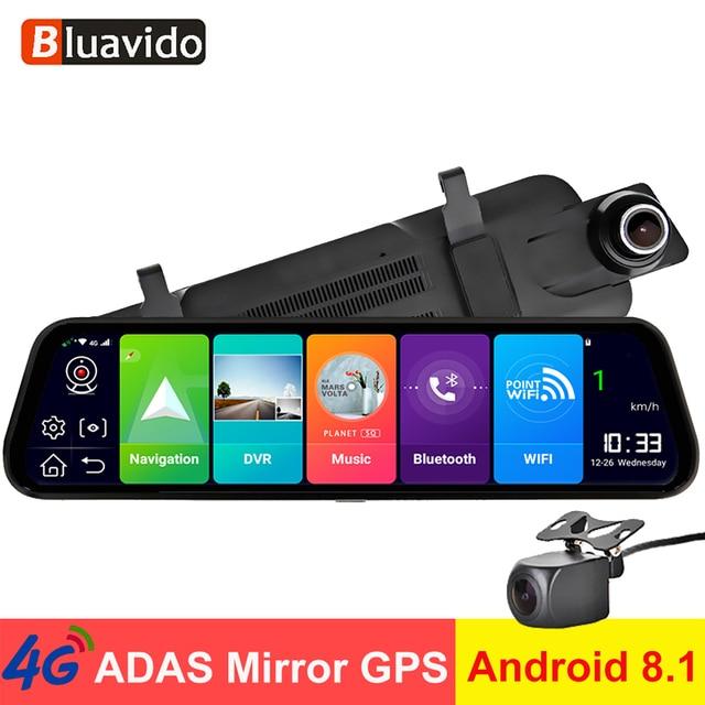 "Bluavido 10"" Car Rearview Mirror 4G Android 8.1 Dash Cam GPS Navigation ADAS FHD 1080P Car Video Camera Recorder DVR Remote view"