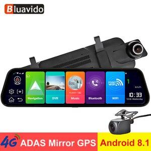 """Image 1 - Bluavido 10 """"araba dikiz aynası 4G Android 8.1 Dash kamera GPS navigasyon ADAS FHD 1080P araba Video kamera kaydedici DVR uzaktan görünümü"""