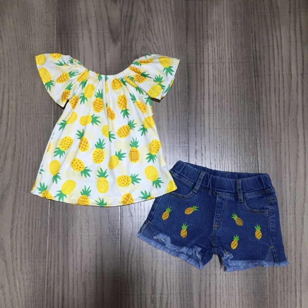 Anne ve Çocuk'ten Giyim Setleri'de Bebek kız bahar giysileri kız ananas kıyafetler kız ananas raglans kot pantolon çocuk yaz giyim title=