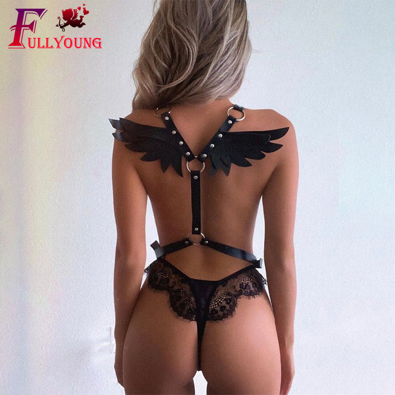 Fullyoung Goth Leather Harness Angel Wing Sexy Garter Erotic Waist Punk Women's Lingerie Waistband Night Club Suspenders Harness