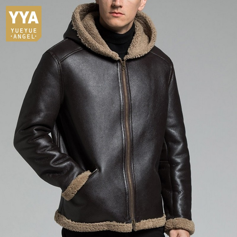 Original Sheepskin Leather Hooded Coat Men Luxury Winter Motorcycle Genuine Leather Jacket Real Fur Jacket Outerwear Plus Size