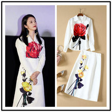 2019 Autumn women's floral print Shirts+pencil skirts two piece set Chic women elegant skirt suit B147(China)