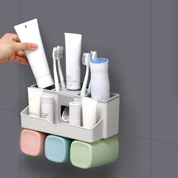Large Capacity Toothbrush Holder Wall Mount Storage Rack with Automatic Toothpaste Dispenser LXY9 image