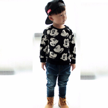 Fashion cartoon print childrens clothing set, spring sports suit, 1-4 year old boy, girls clothes, baby high quality