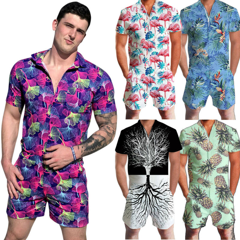 Brand New Men Hawaii Floral Shorts Stylish One Piece Floral 3D Print Rompers Casual Short Pants Jumpsuit Overalls