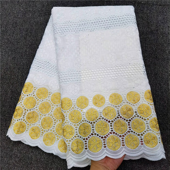 2020 new design cotton lace fabric embroidery lace with stone latest African lace fabric 5yard for women wedding dress  hl66-863