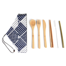 7pcs Eco-friendly Bamboo Utensils Cutlery Set Spoon Fork Chopstick Straw Brush Reusable Wooden Tableware Travel  set