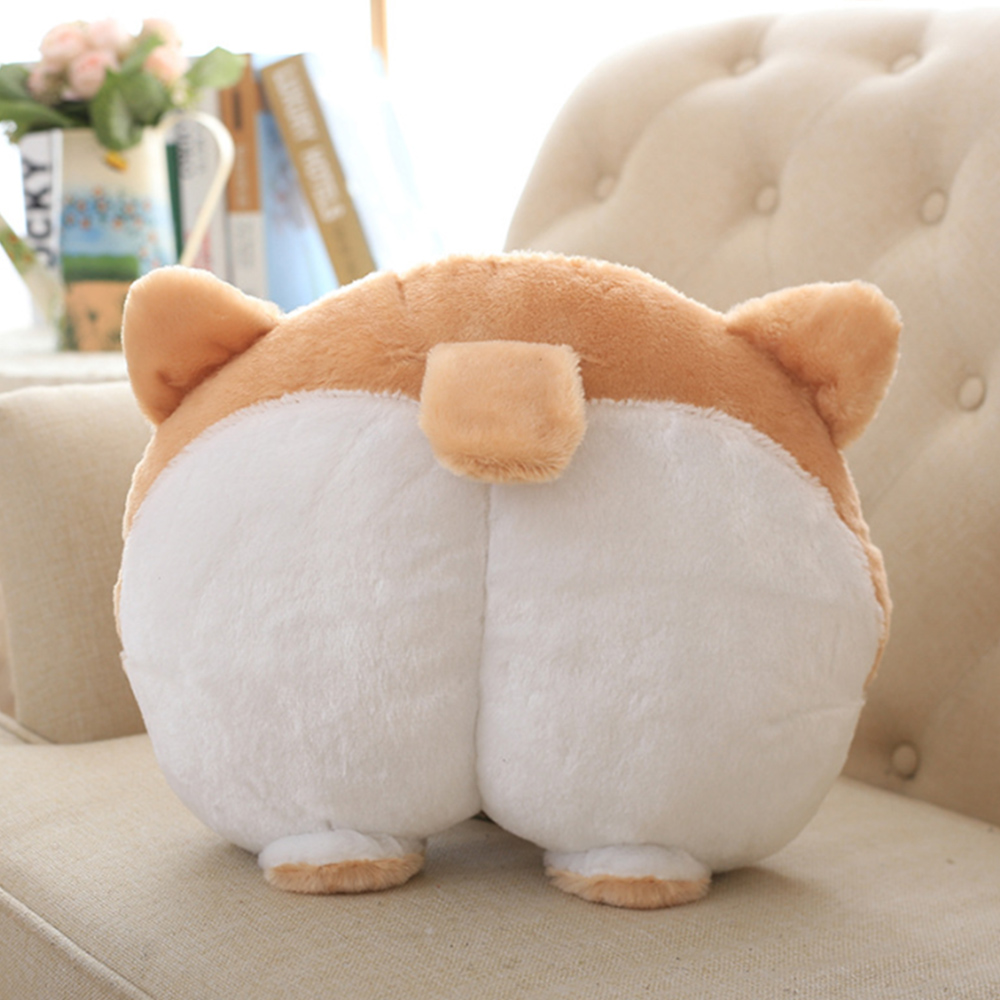 Creative Brown Corgi Dog Ass Plush Pillow Stuffed Animals Asses Shaped Pillow Hand Warmer Decor Lumbar Cushion