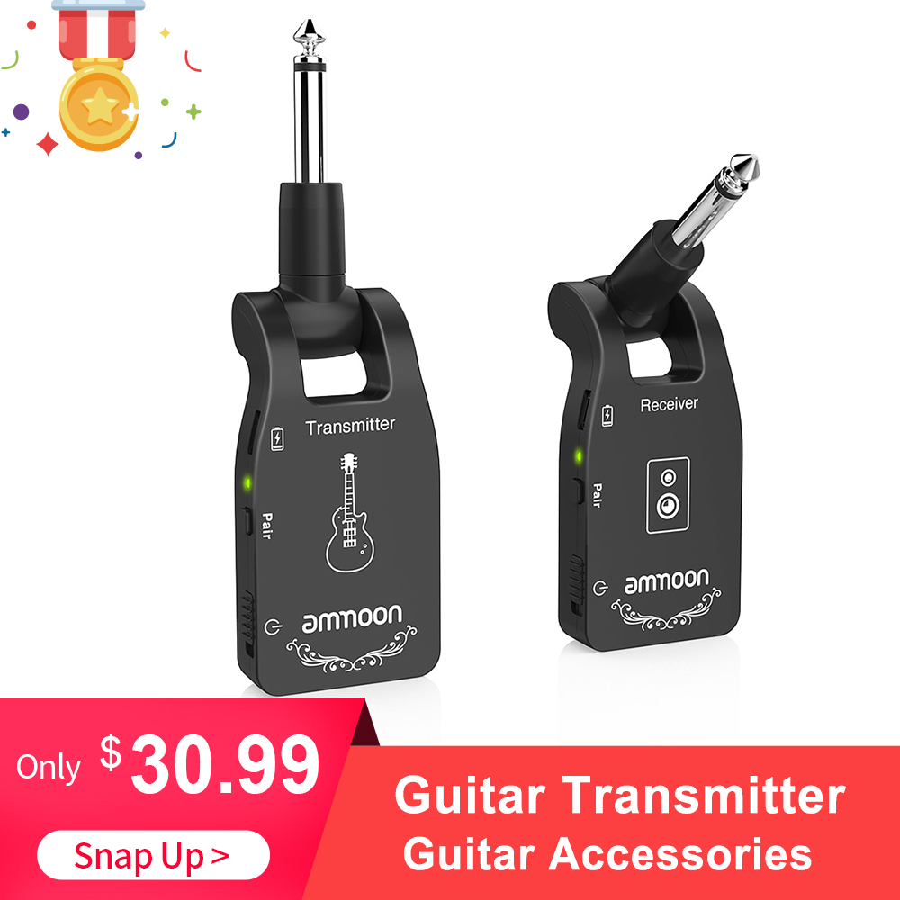 Ammoon Wireless Guitar System 2.4G Rechargeable 6 Channels Audio Transmitter Receiver For Electric Guitar Bass