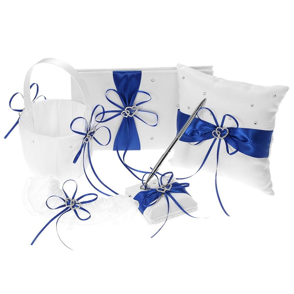 Bride Heart Set Double Garter Basket Girl Set Pen Pillow Satin Supplies Blue Ring Book 5pcs Bearer Flower Guest Holder Wedding