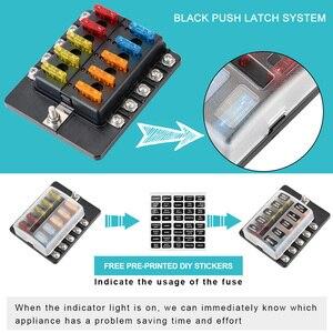 Image 5 - 32V 100A 8 Ways 10 Ways Blade Fuse Block Circuit insurance For Auto Car Marine M5 Stud With LED Indicator Light Fuse Box Holder
