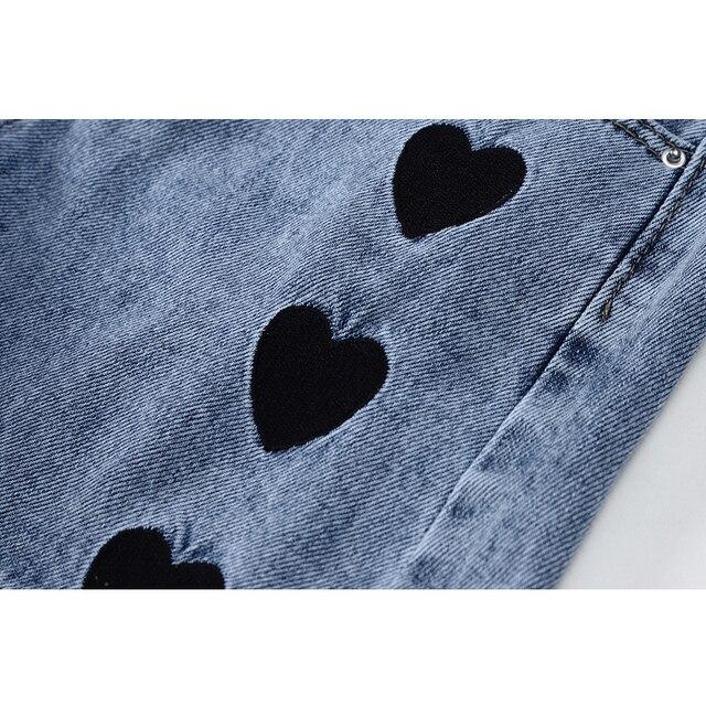 2021 New Summer Fashion Women High Waist Button Vintage Print Leg Jeans Shorts Casual Female Loose Streetwear Denim Shorts 6