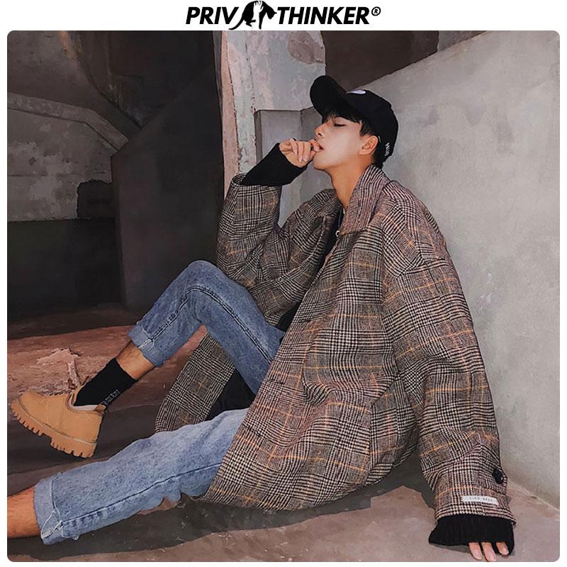 Privathinker Men's Korean Long Thicken Windbreaker Wool Jacket Men Warm Jackets Coat Man Winter 2019 Coat Woolen Korean Version
