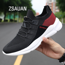 ZSAUAN Dropshipping Men White Black Casual Sneakers Flyknit Breathable Mesh Loafers Comfortable Fashion Shoes Big Size 39-48