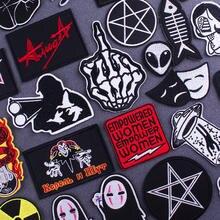 Remendos de dedo do crânio na roupa punk carta bordado remendos para roupas estrangeiro adesivos baratos pano rock applique listras