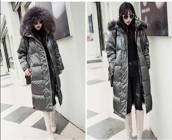 Nowych kobiet zima niebieski dół bawełniana kurtka nowa moda błyszczący duże futro z kapturem gruby błyszczące luźne srebrny ciepły parki pani długi płaszcz