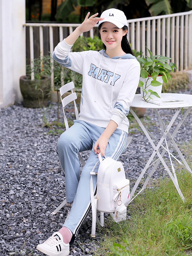 Junior High School STUDENT'S Early Autumn New Style WOMEN'S Suit 2019 Early Autumn Students Hoodie Two-Piece Set + Side Stripes