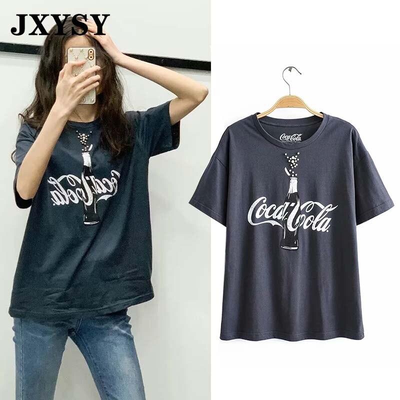 JXYSY Summer T-Shirt Women 2020 Cartoon Cola Bottle Print Cotton O-neck Loose Casual Harajuku T Shirt Female Tops Plus Size