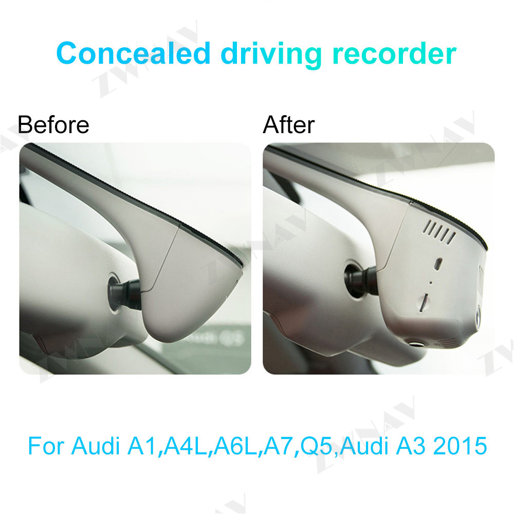Tipo escondido hd gravador de condução dedicado para audi a1 a4l a6l a7 q5, audi a3 2015 dvr traço cam câmera frontal do carro wifi - 2