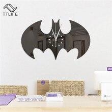 TTLIFE Halloween Creative Batman Watches Mirror Stickers Home Decor Craft Wall Clock DIY Living Room