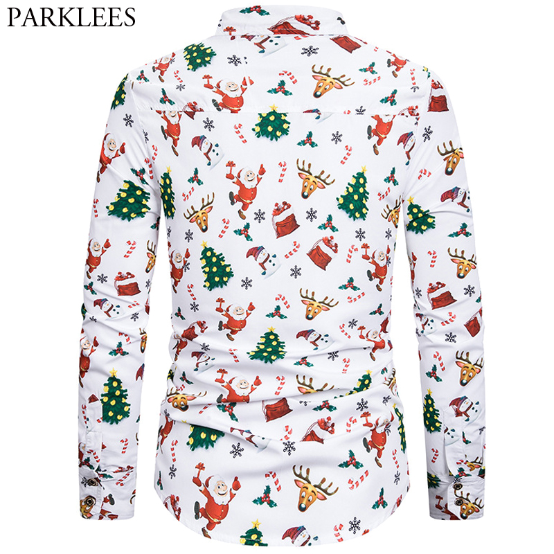 Men Christmas Printed Button Up Xmas Casual Slim Shirt Long Sleeve Blouse S-XXL
