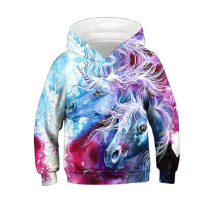 Image 4 - Модные толстовки с объемным единорогом; Толстовка для девочек и мальчиков с принтом радуги, лошади, животных; Детская толстовка с длинными рукавами; Осенняя детская одежда