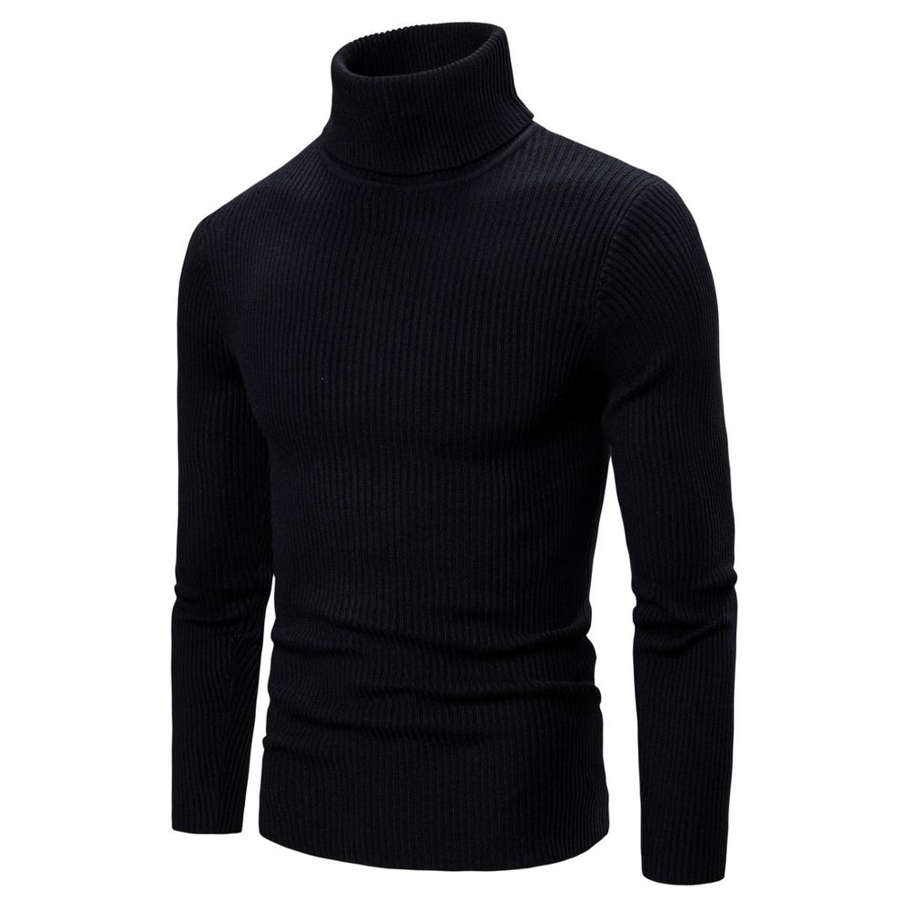 New Autumn Winter Men'S Sweater Men'S Turtleneck Solid Color Casual Sweater