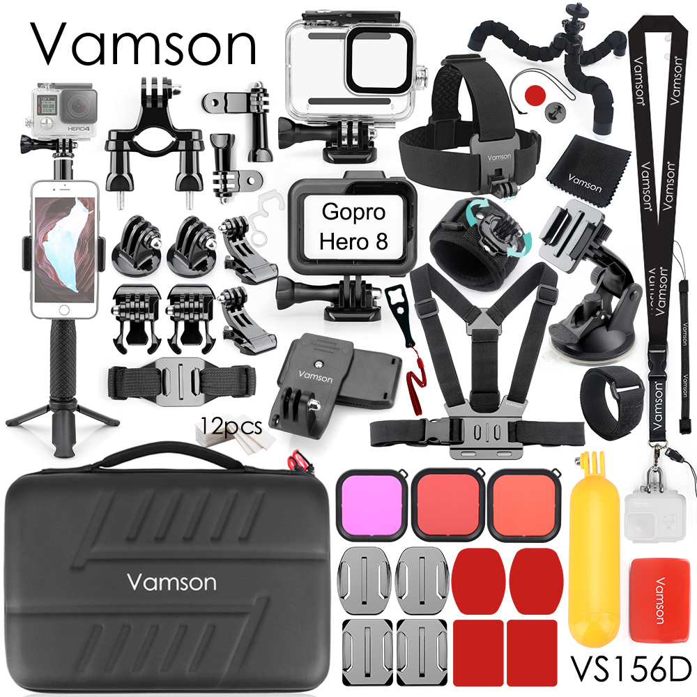Vamson for GoPro Accessories Kits Waterproof Housing Case Tripod Mount Bicycle clip for Gopro Hero 8 Black Sports Camera VS156