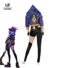 ROLECOS Game LOL K/DA Akali Cosplay Costume KDA Winter Uniform for Women Full Set